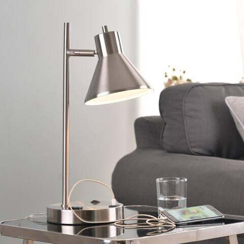 Poplar USB Desk Lamp - Brushed Steel