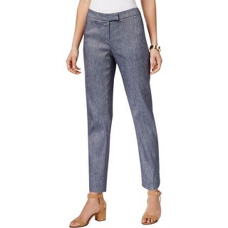 Anne Klein Womens Ankle Pants Linen Blend Twill