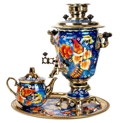 Blue Bird Hand-Painted Electric Russian Samovar Set w/ Tray & Teapot