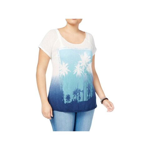 Lucky Brand Womens Plus Casual Top Jersey Graphic