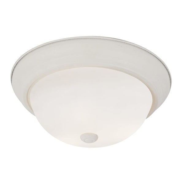 """Trans Globe Lighting PL-13717 2 Light Energy Saving 11"""" Flush Mount Round Ceiling Fixture with Frosted Shade"""