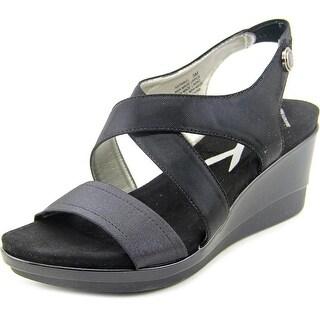 Anne Klein Sport Pawel Women  Open Toe Canvas Black Wedge Sandal
