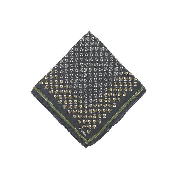 Tom Ford Dark Green Geometric Print Silk Blend Pocket Square