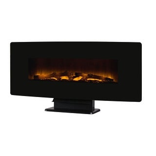 """Muskoka 310-42C-10  4600 BTU 42"""" Wide Wall Mounted Vent Free Electric Fireplace with Curved Glass Front - Black"""