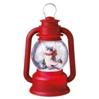 """Raccoon on Ice Red Lighted Glitterdome Lantern Table Top Christmas Decoration 9.5"""""""