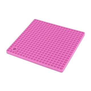Kitchen Silicone Rectangle Shaped Table Decor Heat Insulation Placemat Fuchsia