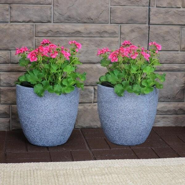 "Sunnydaze Fiber Clay Indoor/Outdoor Round Planter - 12-Inch Set of 2 - Gray - 12"" Set of 2"