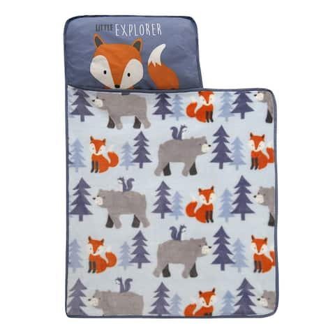 Lambs & Ivy Little Explorer Blue/Gray Woodland Animal Toddler Nap Mat