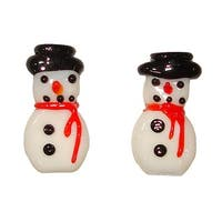 Club Pack of 72 White and Black Glass Snowmen Pebbles Tabletop 0.75""