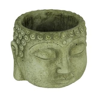 Light Gray Buddha Head Concrete Planter Pot - 5.25 X 6.75 X 6.75 inches