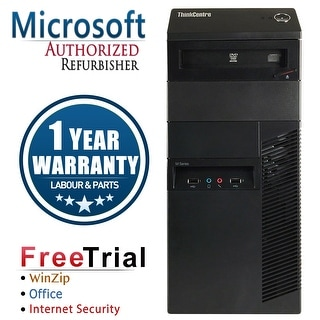 Refurbished Lenovo ThinkCentre M92P Tower Intel Core I5 3470 3.4G 8G DDR3 320G DVD Win 7 Pro 1 Year Warranty - Black
