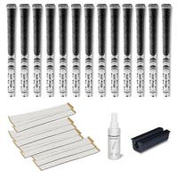 Golf Pride New Decade Multicompound (MCC) Midsize White - 13 pc Golf Grip Kit (with tape, solvent, vise clamp)