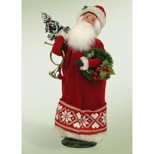 """13.5"""" Nordic Santa with Frosted Christmas Tree, French Horn and Wreath Christmas Figure"""