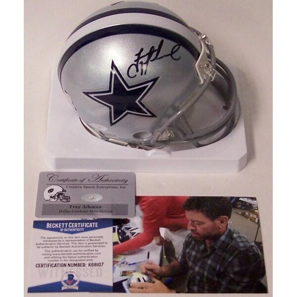 finest selection 02d0d a77bb Troy Aikman Autographed Hand Cowboys Mini Helmet BAS Beckett
