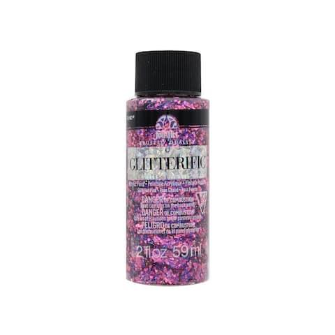 5879 plaid folkart glitterific paint 2oz hot pink