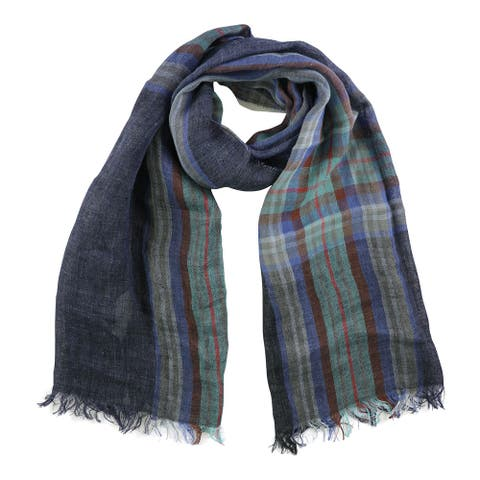 Paul Smith Womens Linen Scarf, blue, One Size - One Size