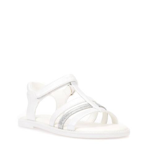 Kids Geox Girls Karly Leather T-Strap Slide Sandals - 3 M US Big Kid
