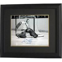 Eddie Giacomin signed New York Rangers 16X20 BW Photo Custom Framed HOF 87