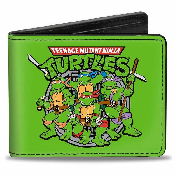 Classic Teenage Mutant Ninja Turtles Battle Pose8 Manhole Cover Green Black Bi-Fold Wallet - One Size Fits most