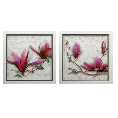 IMAX Home A0282129 Juliette Two Panel MDF Framed Flowers Painting Set on Glass - Purple
