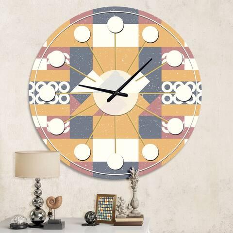 Designart 'Retro Geometric Design VI' Mid-Century wall clock