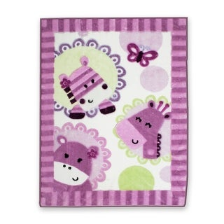 Lambs & Ivy Purple Hopscotch Jungle Circle of Friends Warm & Cozy Blanket