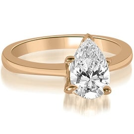 1.00 cttw. 14K Rose Gold Solitaire Pear Cut Diamond Engagement Ring