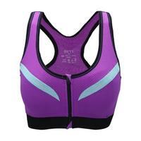 Women Zip Front Wirefree Color Block Pullover Active Sports Bra - Purple