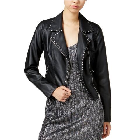 bar III Womens Studded Motorcycle Jacket, black, XX-Small