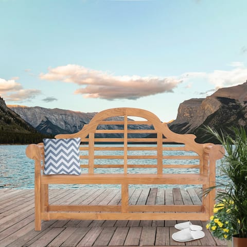 Chic Teak Lutyens Teak Wood Outdoor Garden & Patio Double Bench