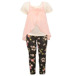 Girls Blush Wrap Overlaid Short Sleeve Top Floral 2 Pc Pant Outfit