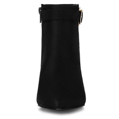 Women's Pointed Toe Buckle Zip Block Heel Ankle Booties