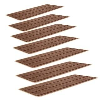 Household Polypropylene Fiber Non-slip Floor Staircase Stair Mat Carpet Brown 7 Pcs
