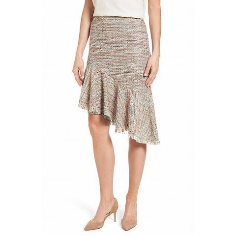 Halogen Womens Skirt Beige Multi Size 12P Petite Asymmetrical Tweed