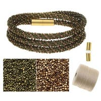 Refill - Beaded Kumihimo Wrap Bracelet Kit-Brnz/Grn - Exclusive Beadaholique Jewelry Kit