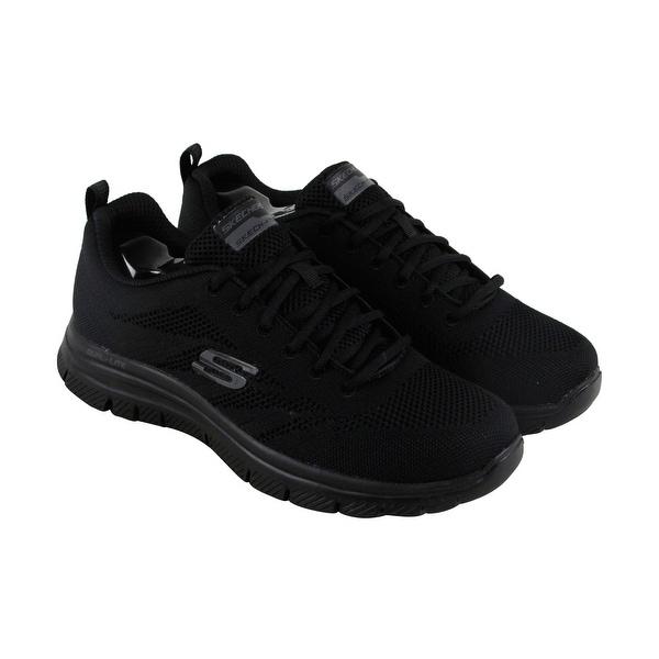 Skechers Flex Advantage Fator Mens Black Mesh Athletic Slip On Training Shoes
