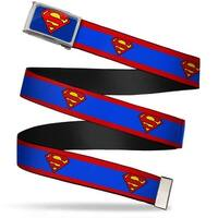 Superman Fcg Blue  Chrome Superman Shield Stripe Red Blue Webbing Web Belt