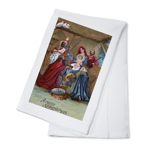 A Merry Christmas - Nativity Scene - Vintage Holiday Art (100% Cotton Towel Absorbent)