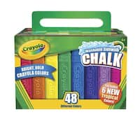 Crayola Non-Toxic Washable Sidewalk Chalk, 4 1/8 L in X 3/4 sq-in, Assorted Colors, Pack of 48