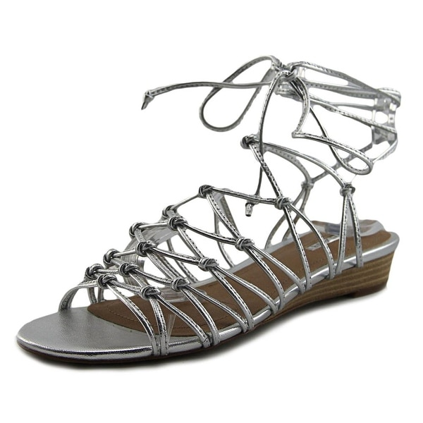 Tahari Caper Women Open Toe Leather Silver Gladiator Sandal