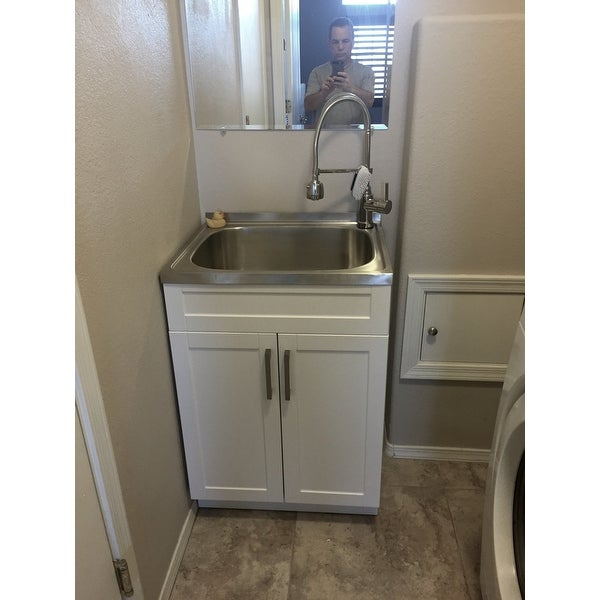 Wyndenhall Hartland 24 Inch Laundry Cabinet With Faucet And Stainless Steel Sink On Ships To Canada 11915355