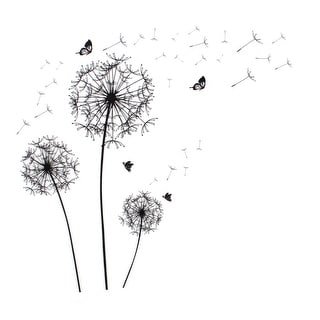 "Unique Bargains Dandelion Butterfly Pattern Self-adhesive Removable Wall Sticker Paper Ornament 35.4"" x 23.6"""