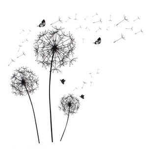 "Dandelion Butterfly Pattern Self-adhesive Removable Wall Sticker Paper Ornament 35.4""x23.6"" - Black"