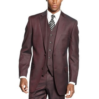 Sean John Wine Neat Sharkskin Suit-Separate Sportcoat 36 Short 36S