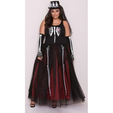 Plus Size Ms. Bones Skeleton Costume, Plus Size Skeleton Dress Costume - as shown