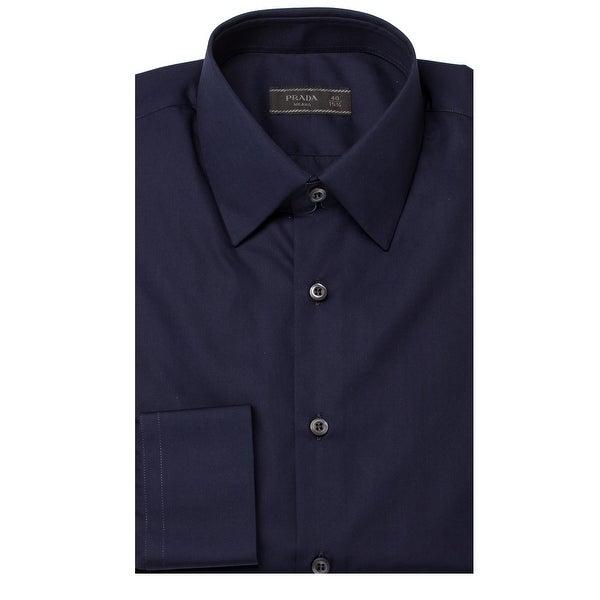 Prada Men X27 S Spread Collar Cotton Dress Shirt Navy