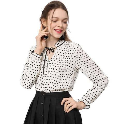 Women's Tie Ruffle Neck Polka Dot Blouse Vintage Bell Long Sleeves Top