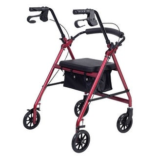 Costway Rollator Rolling Walker with Curved Back Soft Seat 4 Wheel Burgundy