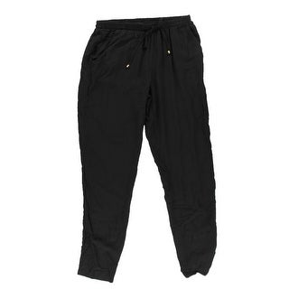 Be Bop Womens Juniors Solid Flat Front Pants - M