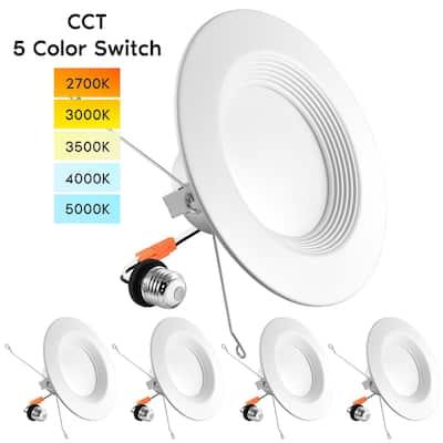 "Luxrite 5/6"" LED Recessed Lights, Color Selectable 2700K 3000K 3500K 4000K 5000K, Dimmable, 1100 Lumens, 4-Pack"
